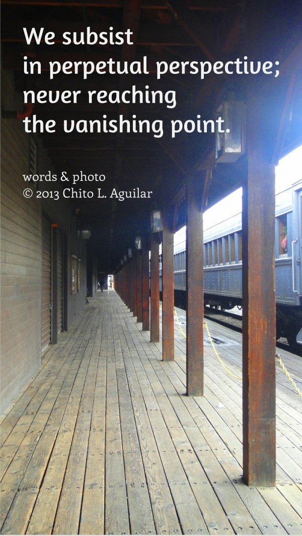 We subsist in perpetual perspective; never reaching the vanishing point.